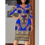lovely Stylish V Neck Print Blue Knee Length Dress