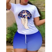 lovely Casual O Neck Lip Print Blue Two Piece Shorts Set