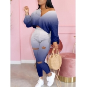 Lovely Trendy Gradual Change Blue Two Piece Pants