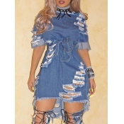 lovely Street Broken Holes Lace-up Deep Blue Denim