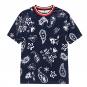 lovely Bohemian O Neck Print Blue T-shirt