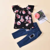 lovely Casual Floral Print Black Girl Two-piece Pa