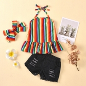 lovely Trendy Rainbow Striped Multicolor Girl Two-