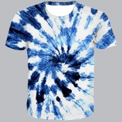 lovely Street O Neck Tie-dye White T-shirt