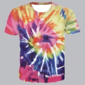 lovely Street O Neck Tie-dye Rose Red T-shirt
