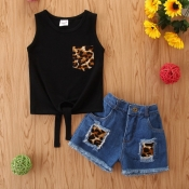 lovely Casual Patchwork Black Girl Two-piece Short