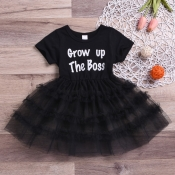 lovely Casual O Neck Letter Print Black Girl Knee Length Dress