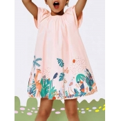 lovely Casual O Neck Plants Print Pink Girl Mini D