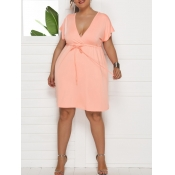 lovely Casual Deep V Neck Lace-up Pink Mini Plus S