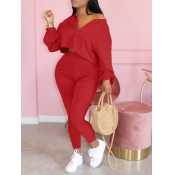 lovely Casual Zipper Design Red Plus Size Two-piec