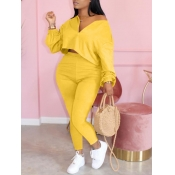 lovely Casual Zipper Design Yellow Plus Size Two-p