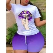 lovely Street O Neck Lip Print Purple Plus Size Tw
