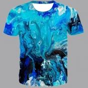 lovely Street O Neck Tie-dye Blue T-shirt