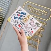 lovely Casual Letter Print White Messenger Bag