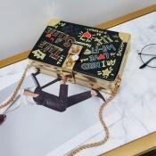 lovely Casual Letter Print Black Messenger Bag