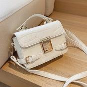 lovely Stylish Zipper Design White Crossbody Bag
