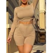 lovely Sportswear O Neck Drawstring Skinny Khaki T