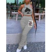 lovely Sportswear O Neck Print Fold Design Grey Two Piece Pants Set