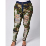 lovely Casual Broken Holes Camo Print Plus Size Je