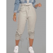 lovely Casual Drawstring Grey Pants