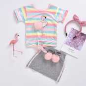 lovely Casual Rainbow Striped Grey Girl Two-piece