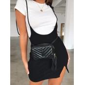 lovely Trendy Lace-up Black Skirt