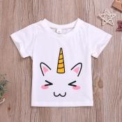 lovely Casual O Neck Print White Girl T-shirt
