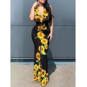 lovely Bohemian Deep V Neck Print Black Maxi Dress