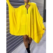 Lovely Euramerican Batwing Sleeves Patchwork Yello