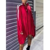 Lovely Euramerican Batwing Sleeves Patchwork Red K