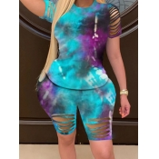 lovely Trendy Tie-dye Hollow-out Skyblue Plus Size