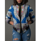 lovely Trendy Print Zipper Design Baby Blue Coat