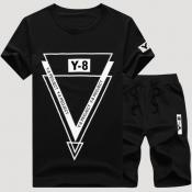lovely Sportswear O Neck Print Black Two-piece Sho