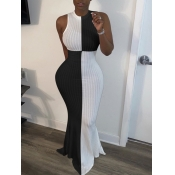 lovely Trendy Sleeveless Patchwork Black Maxi Dres