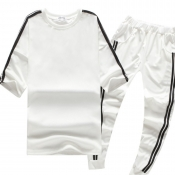 Lovely Sportswear Patchwork White Two-piece Pants