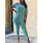 Lovely Leisure V Neck Striped Blue Two Piece Pants