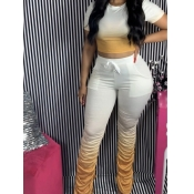 Lovely Casual Gradient Yellow Two Piece Pants Set