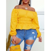 lovely Trendy Dew Shoulder Fold Design Yellow Blouse