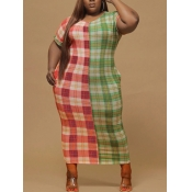 lovely Casual O Neck Patchwork Grid Print Green Mi