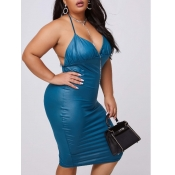 lovely Stylish Backless Blue Mid Calf Plus Size Dr