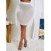 lovely Trendy Flounce Design See-through White Skirt