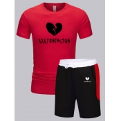 lovely Sportswear O Neck Patchwork Red Two-piece Shorts Set