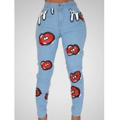 lovely Casual Print Skinny Blue Jeans