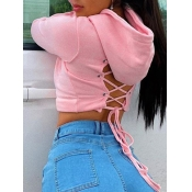 Lovely Casual Hooded Collar Bandage Design Pink Hoodie