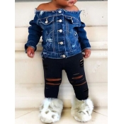 lovely Street Buttons Design Blue Girl Two-piece Pants Set
