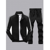 lovely Sportswear Zipper Design Patchwork Black Tw