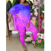 lovely Street V Neck Tie Dye Side Slit Purple Two Piece Pants Set