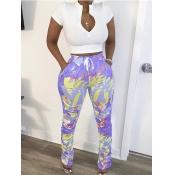 lovely Leisure Print Zipper Design Light Purple Two Piece Pants Set