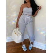 lovely Leisure Dew Shoulder Zipper Bandage Design Grey Two Piece Pants Set