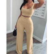 lovely Sportswear U Neck Basic Khaki Two Piece Pants Set